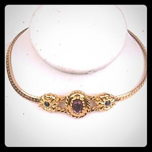 VINTAGE GoldTone Amethyst Glass Jeweled Bracelet